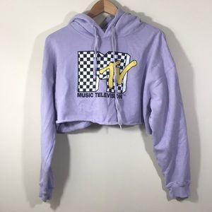 MTV Graphic Cropped Hoodie Sweater Lavender